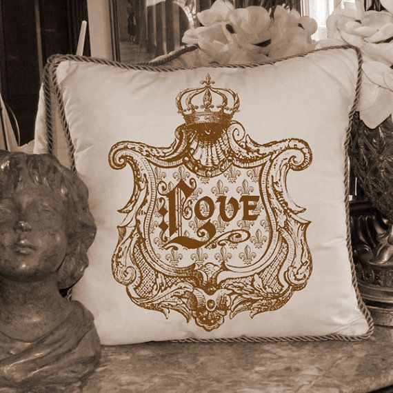 A Regal LOVE in Royal Crown Frame Word Typography Digital Image Download Transfer To Pillows Totes Tea Towels Burlap No. 2200 SEPIA