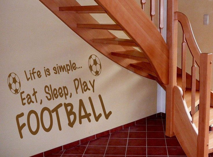 Eat Sleep Play Football Kids Room Children Stylish Wall Art Sticker Decal 10612