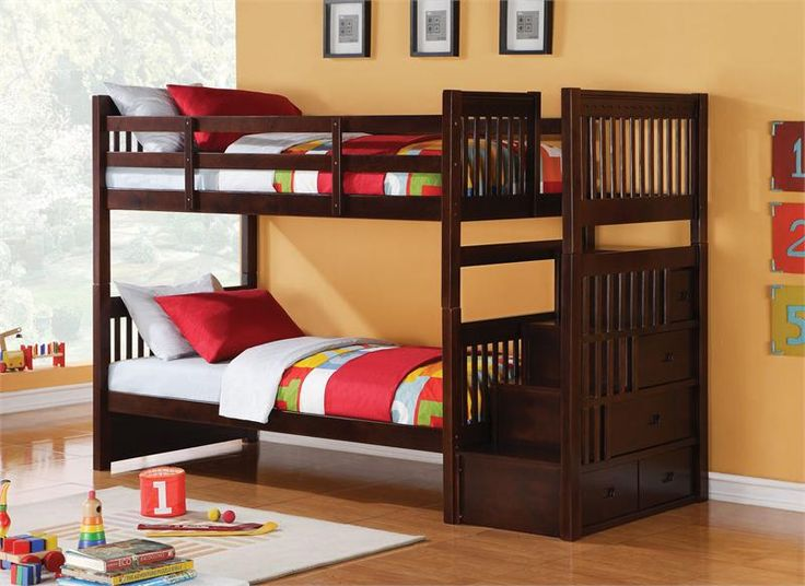 Astonishing Teak Wood Bunk Bed With Exotic Red And Green Sheeets Also  Interesting Orange Painted Wall Part 33