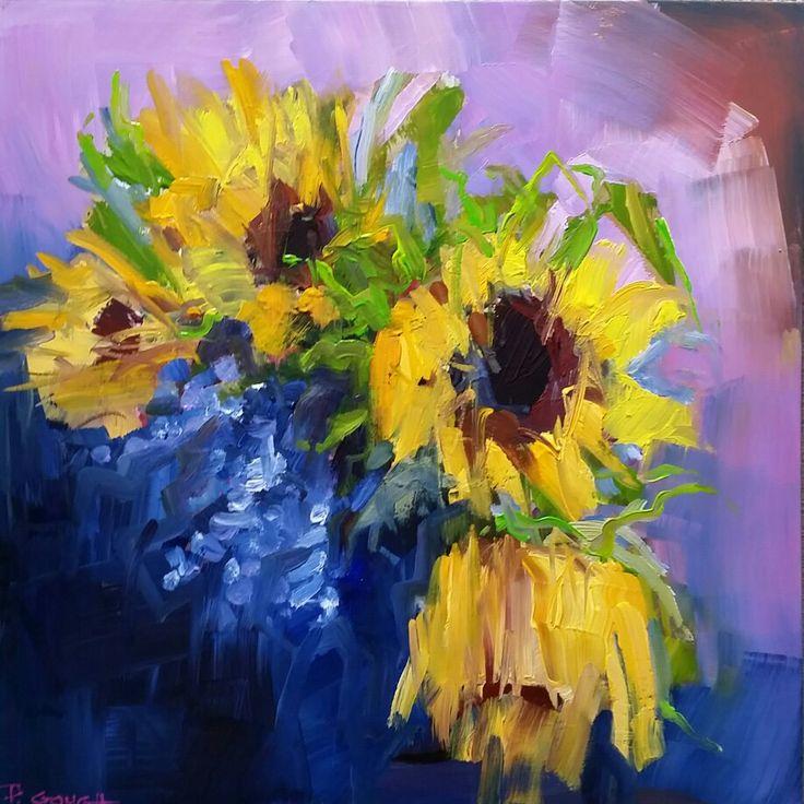 Sunflowers & Lavender 60cm x 60cm www.paulinegough.com