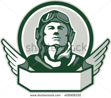 Illustration of a vintage world war one pilot airman aviator bust looking up viewed from front with winged scroll in front set inside circle done in retro style.   #aviator #veteran #retro #illustration