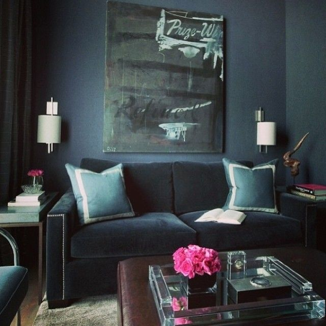 …this rich deep blue ish grey is all the rage right now. The perfect muted jewel tone. & a pop of pink.
