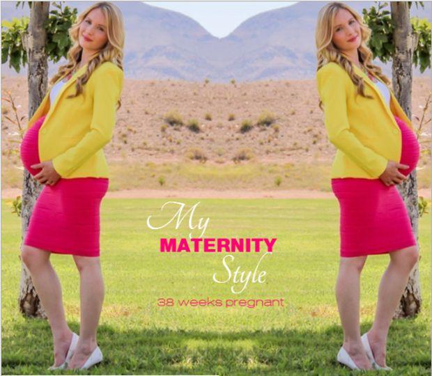 My maternity style 38 weeks pregnant :: Yellow Blazer & Fuchsia Skirt.