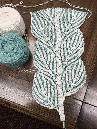 Оригинальный шарфик *Winter Birch* в технике бриош - Модное вязание