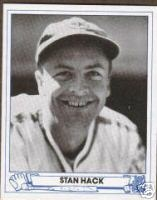 October 8, 1945 - Stan Hack keeps the Cubs World Series chances alive with a run scoring double in the 12th inning over the Detroit Tigers to send the 1945 World Series to a 7th and decisive game.  1945 Stan Hack baseball card at Ebay.