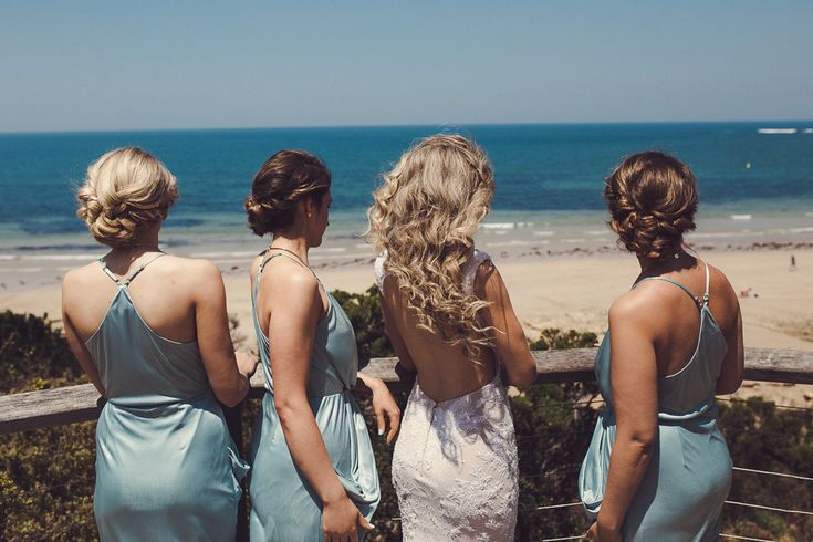Wedding hair - curls blond long bun aqua bridesmaid backless dress beach outdoor wedding Melbourne Australia photographer