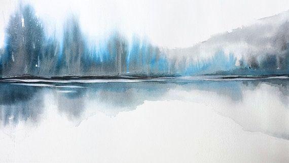 Pintura, acuarela impresión, impresión de la naturaleza, paisaje moderno impresión de paisaje, arte de montaña, azul y gris de la pared arte masculino Decor, lago,
