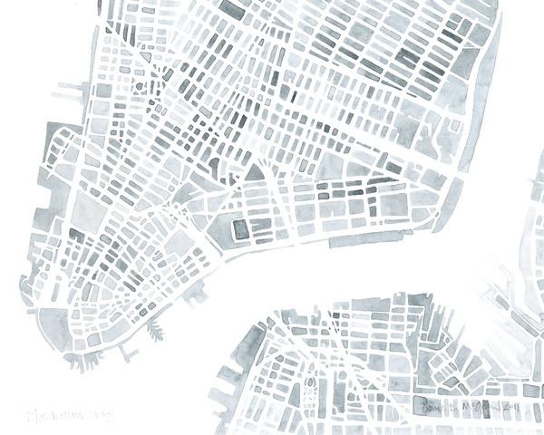 watercolor map of manhattan nyc art print
