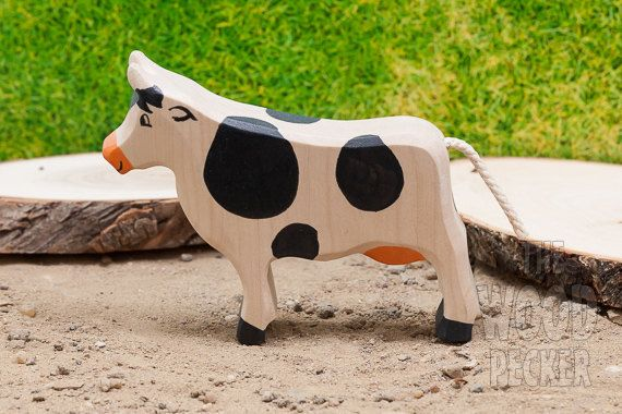 Waldorf Toy, Wooden Cow Toy, Farm animals, Organic Toy, Wooden toys, Waldorf toys, Farm animal toys,Handmade wooden toy,Toys for Kids,Gifts