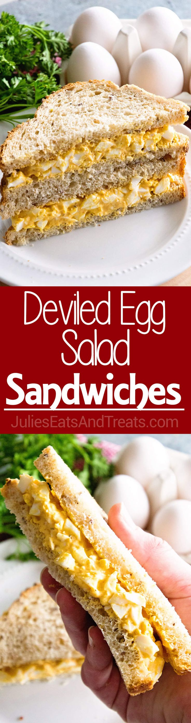 Deviled Egg Salad Sandwiches ~ Your Favorite Deviled Eggs Piled onto a Sandwich! Perfect Recipe for a Quick and Easy Lunch! via @julieseats