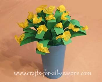 Fun and easy paper flowers for a child to give away as a gift, from Crafts For All Seasons.
