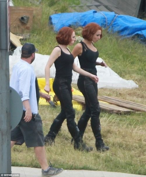 """Scarlett Johansson's two stunt doubles on the set of """"Avengers: Age of Ultron"""" in England."""