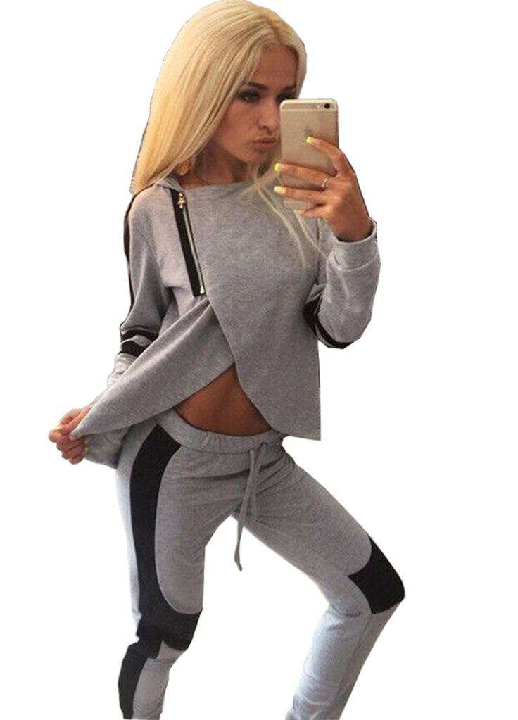 Gray Hooded Long Sleeve Two Piece Jogger Set_Pant Set_Women Set_Sexy Lingeire | Cheap Plus Size Lingerie At Wholesale Price | Feelovely.com