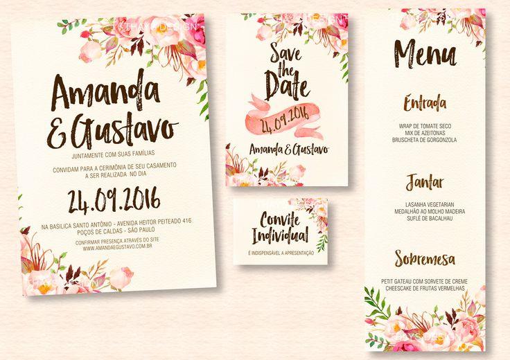 Kit Convite de Casamento (Digital)   Studio Pomme   Elo7