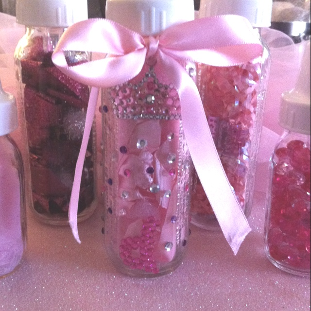 Glass Baby Bottles, Decorated For Baby Shower Gift.