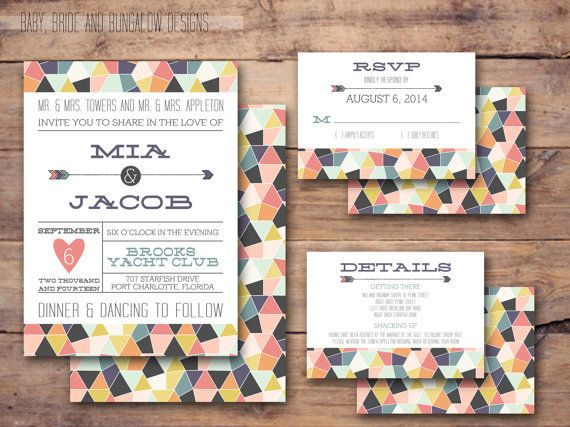 Geometric wedding invitation with response and details card with coordinating background: printable and customizable 5x7