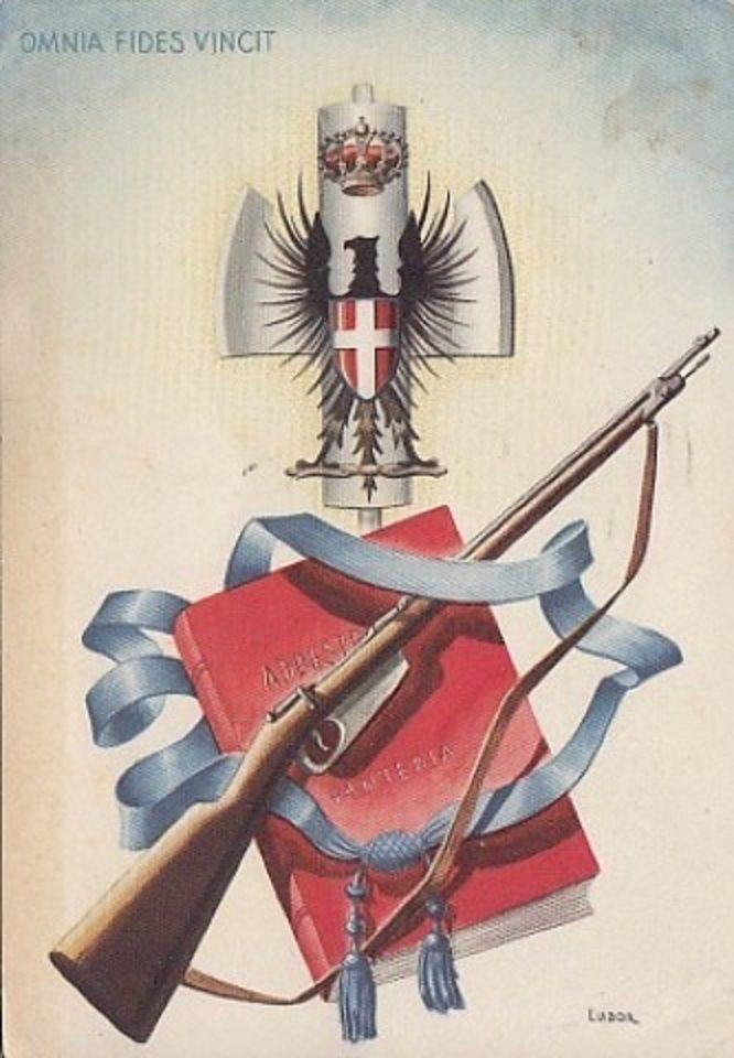 "Italy, Fascist poster. ""Omnia fides vincit"" (Faith conquers all)"