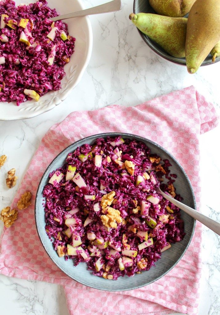 Red Cabbage and Pear Salad with Walnuts - plant based, vegan, gluten free, raw #halfyourplate