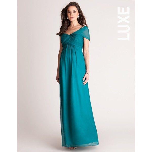 Emerald Silk Maternity Evening Dress (1.190 BRL) via Polyvore featuring maternity