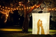 outside wedding ideas using burlap   ... sheet. Great look especially for outdoor weddings - even at night