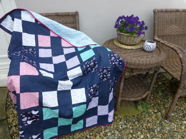 Denim nine patch quilt made using Craft Cotton Company fabrics