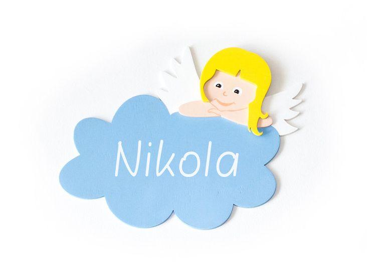 Anioł Stróż drewniana tabliczka, wizytówka imię - FirstDecor - Tabliczki na drzwi dla dzieci #ozdoby #nasciane #dladzieci