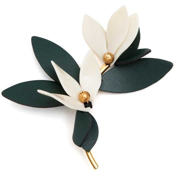 MARNI Flower brooch ($240) ❤ liked on Polyvore featuring jewelry, brooches, leather jewelry, flower jewellery, marni, blossom jewelry and marni jewelry