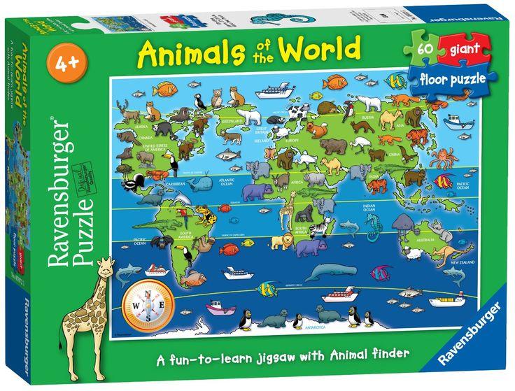 Ravensburger 07072 - Animali del mondo, Puzzle 60 pezzi Giant: Amazon.it: Giochi e giocattoli