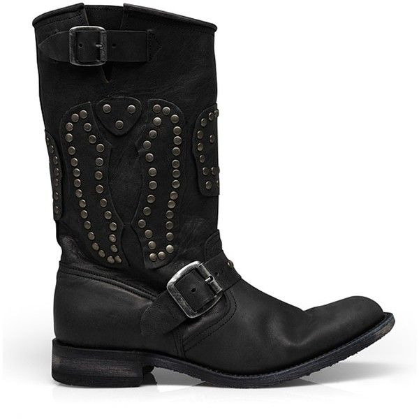 Biker støvler med nitter ($365) ❤ liked on Polyvore featuring shoes, boots, women, rock shoes and bike shoes