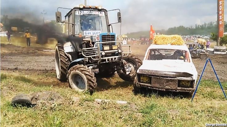 Russian Monster Tractor Drivers vs Road Rage Car Maniacs   - Russian Flying Tractor Racing 2016 - Offroad Race - Bison Track Show - Russia - Russian offroad tractor racing.Flying tractors cars ukranian belarus mtz kraz lada.Youtube video shared o all facebook google vkontakte profiles even on livestream liveleak ustream. Tractor machine race with tractor pulling show and stuck race. Green field tractor pulls  on pulling race around pull trailer.Crashes racing in country with background…
