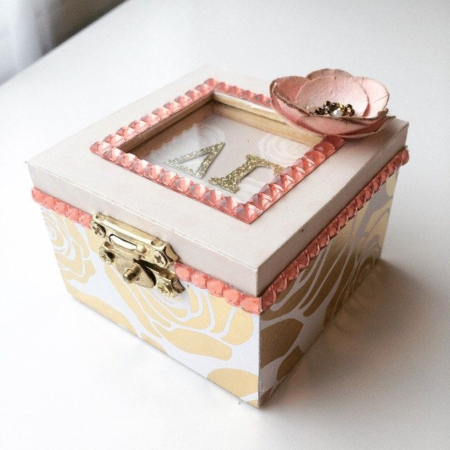 Any Sorority, Blushing Rose: Sorority pin box, Handmade, Choose any Sorority by PaperGemsbyLex on Etsy https://www.etsy.com/listing/496595876/any-sorority-blushing-rose-sorority-pin