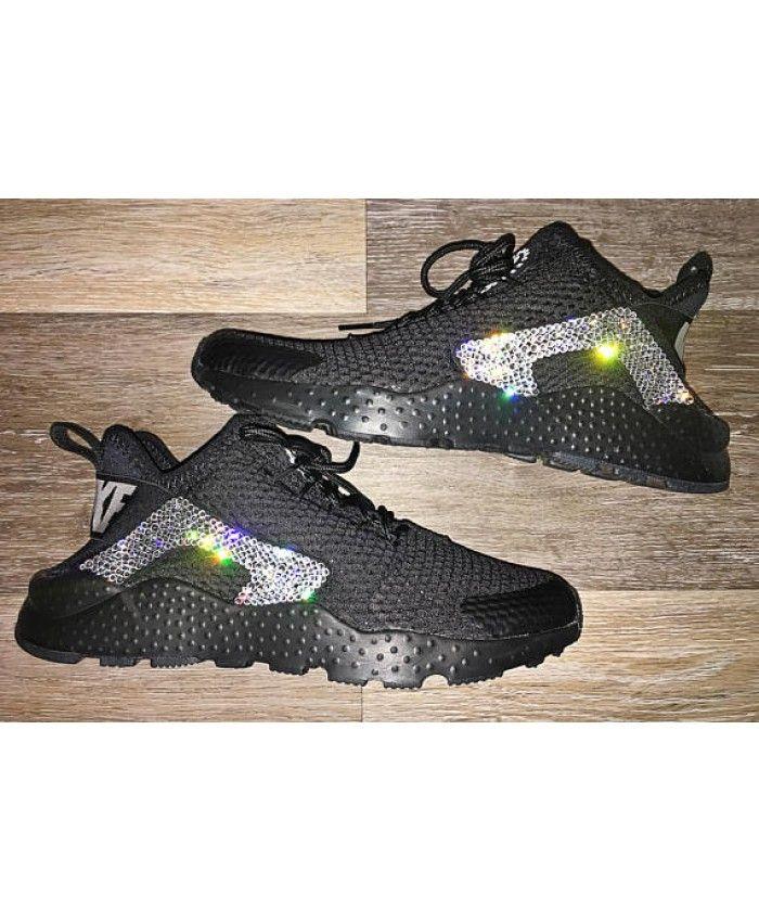 Nike Air Huarache Run Ultra Black Bling Trainers Clearance  c6d485640