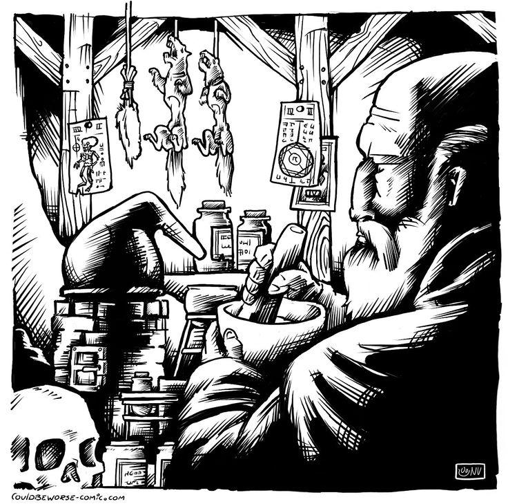An Alchemist plying his trade, wizard alchemy laboratory.