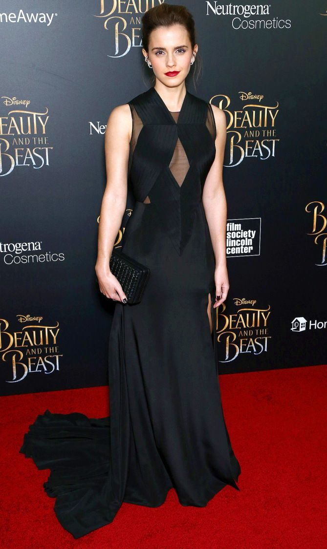 "Emma Watson is a beauty in black in Givenchy at the premiere of ""Beauty and the Beast."""