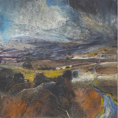 Sarah Bee Yorkshire Dales Pastel over acrylic wash