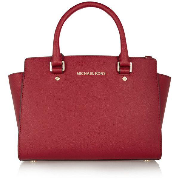Selma medium textured-leather tote, Michael Michael Kors, Women's,... (£285) ❤ liked on Polyvore featuring bags, handbags, tote bags, burgundy, michael michael kors handbags, burgundy handbag, burgundy tote bag, zippered tote and cell phone purse