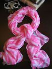 """New Summer Beach Pool Pink & White Ikat Print Wrap Scarf Swim Cover Up 40"""" x 70"""""""