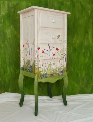 Hand painted Sylvan Garden bureau - Hand painted furniture - L'atelier du Papillon