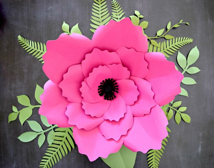 Giant Anemone Paper Flower Template with Poppy center - Catching  Colorlfies