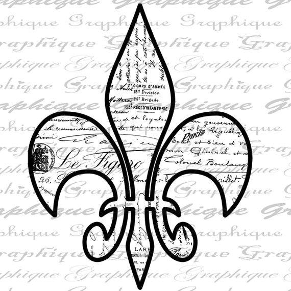 Fleur de Lis French Script Words Paris Digital Image