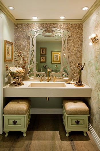 Art Nouveau Inspired Bathroom   Pinned This B/c Of The Tile Work Combo W  Mirror. Like The Benches. Find This Pin And More On Bathrooms By DeWitt  Designer ...