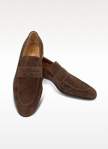 Dark Brown Suede Loafers by Moreschi. Buy for $348 from Forzieri