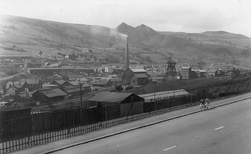 Looking over Merthyr Vale Colliery towards Aberfan Tips