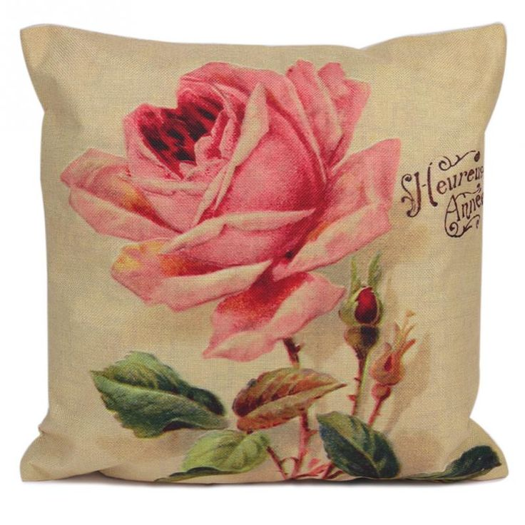 American Gray Decorative Cushion Covers Rose Cushion Cover Spring Flower Throw Rose Linen Cotton Bedroom Sofa Decor Gift #Affiliate