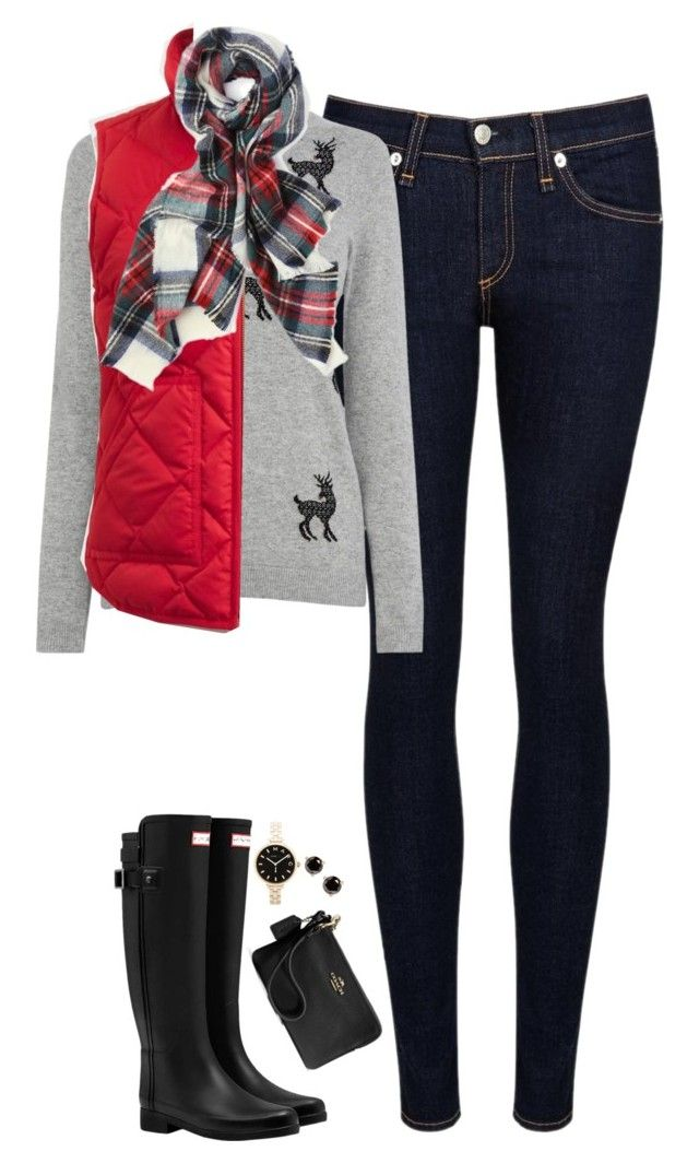 """""""Reindeer sweater, plaid scarf & red vest"""" by steffiestaffie ❤ liked on Polyvore featuring rag & bone/JEAN, Warehouse, J.Crew, Hunter, Coach, Marc by Marc Jacobs and Kate Spade"""