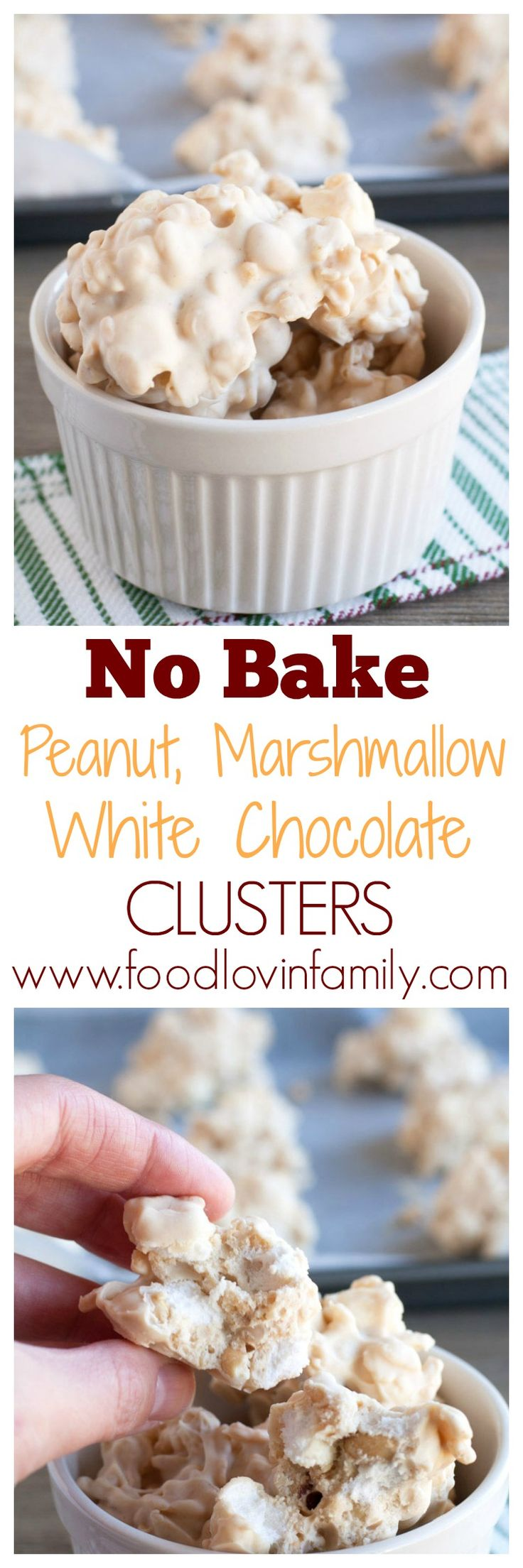 No bake peanut, marshmallow, white chocolate clusters are so easy and can be made in under 5 minutes. They are one of my ALL TIME favorite desserts.| http://www.foodlovinfamily.com/no-bake-peanut-marshmallow-white-chocolate-clusters/