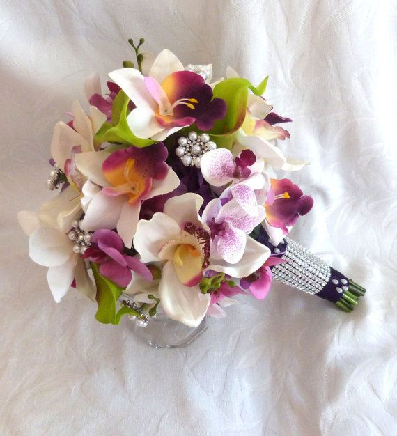 Reserved Orchid Bridal Bouquet by ChurchMouseCreations on Etsy