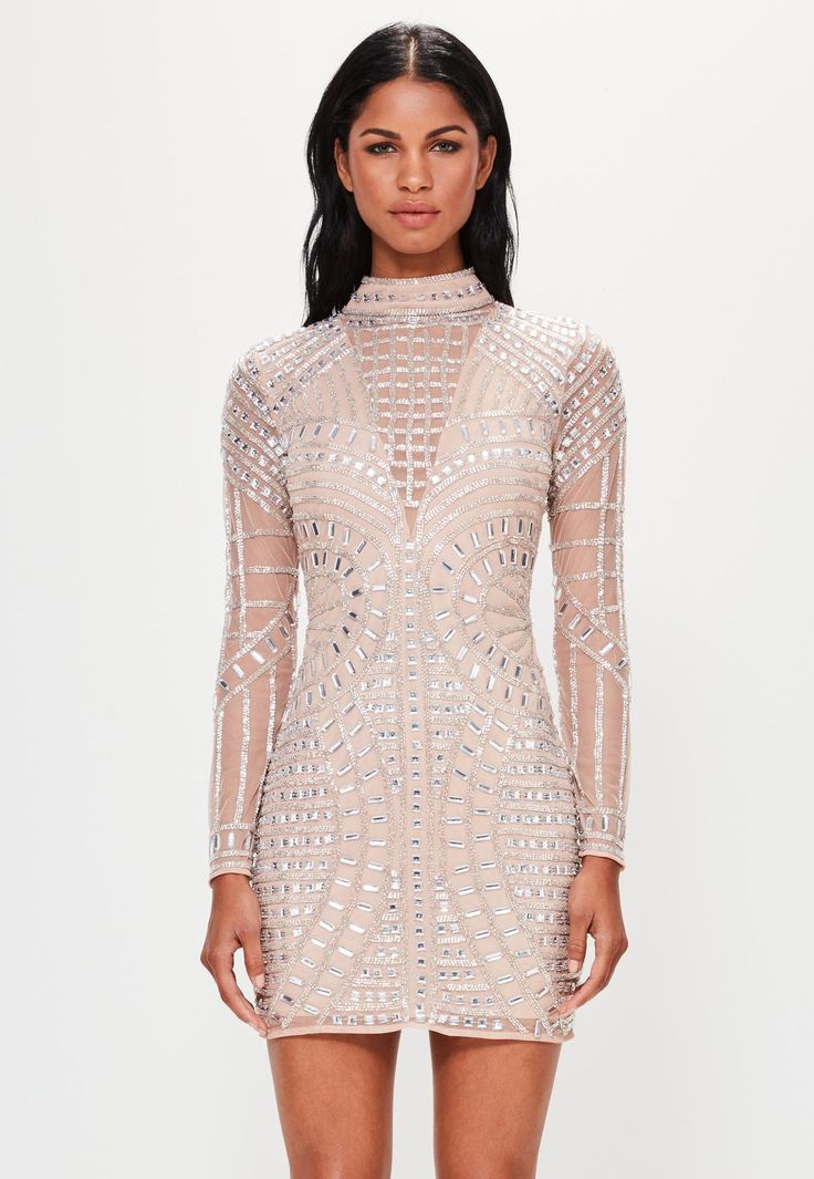 Peace + Love Nude Long Sleeve Embellished Bodycon Dress | Missguided