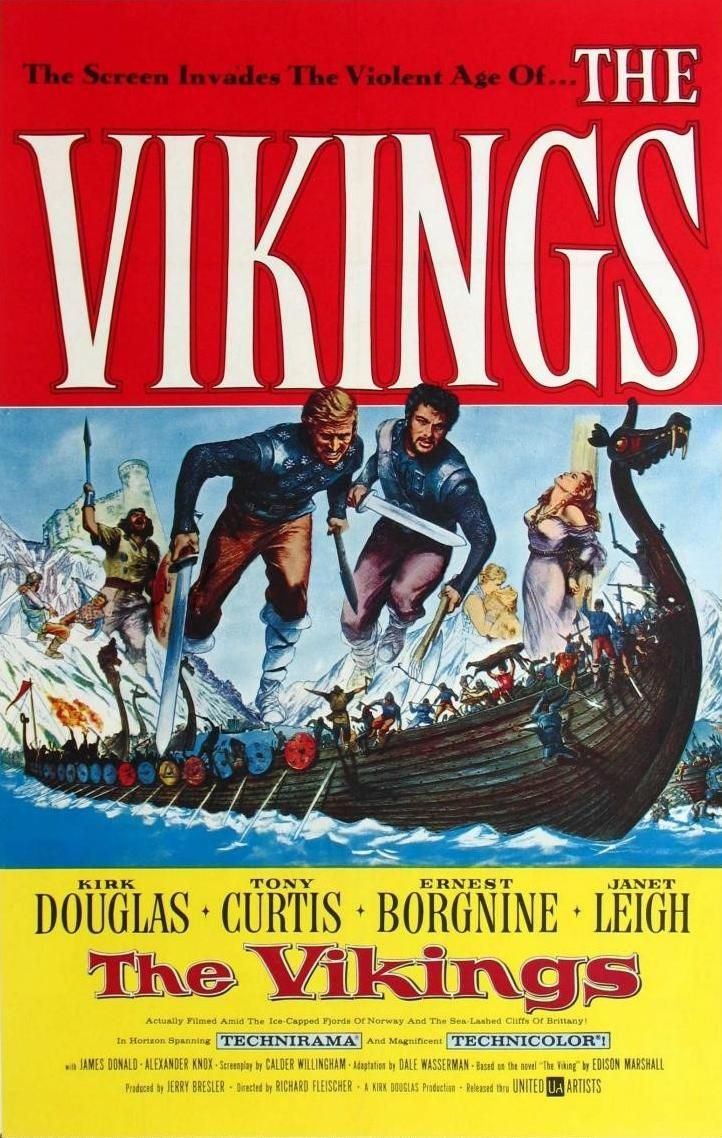 THE VIKINGS - Kirk Douglas - Tony Curtis - Ernest Borgnine - Janet Leigh -  James Donald - Alexander Knox - Based on the novel by Edison Marshall -  Produced ...
