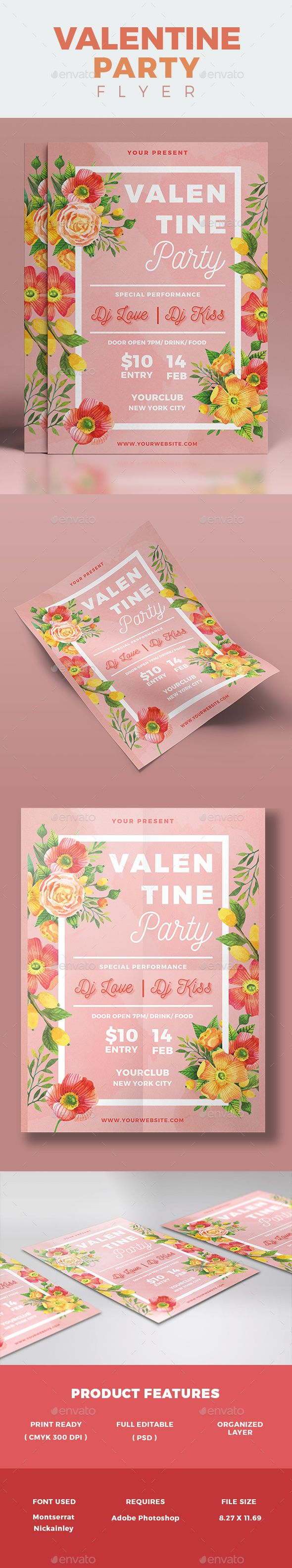 Valentine's Day Party Flyer Template PSD